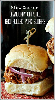 slow cooker) Cranberry Chipotle BBQ Pulled Pork Sliders Recipe ...