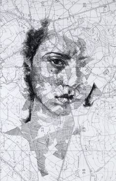 Map portraits drawings by artist Ed Fairburn, i would like to try doing this with a map of montana with an elk, deer, or bear drawing