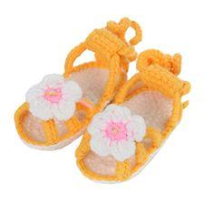Bigood(TM) 1 Paar Strickschuh One Size Strick Schuh Baby Unisex süße Muster 11cm Blume Orange - http://on-line-kaufen.de/bigood/orange-bigood-tm-1-paar-strickschuh-one-size-schuh