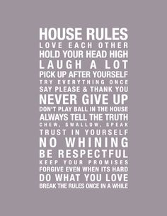 8x10 Print, House Rules, In this house we do. $17.00, via Etsy.