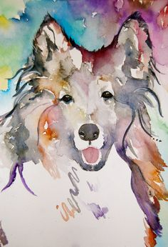 Dog Art Collie watercolor print Dog Painting by BelleLuneArts