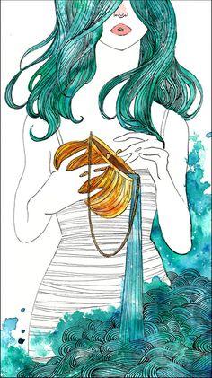 Beautiful stylized Aquarius-Renee Nault