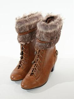 axes femme ファー付レースアップブーツ fur lace up boots