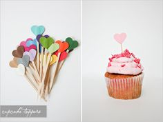 Heart cupcake toppers in a rainbow of colors. So cute for bridal shower, baby shower or just because.