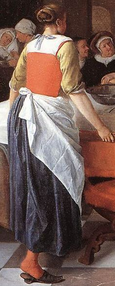 More knit waistcoats? Rare picture of the back of someone. I'm always staring at paintings wishing the subjects would turn around for me... Note the apron. (Jan Steen Celebration at the Birth)