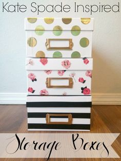Easy Kate Spade Inspired Storage Boxes - A simple DIY tutorial for making your own Kate Spade storage boxes. No paint, no measuring, no mess. Only takes about 15 minutes.  Costs less than $16 to make the set, rather than $54 for the real thing!  An Exercise In Frugality