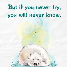 But if you never try, you will never know.