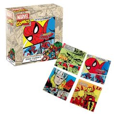 #Marvel Comics Glass Coaster Set 4-Pack