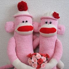 I made pink sock monkey couple for our 2nd anniversary!