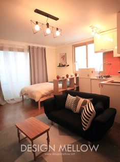 10평 원룸에 아늑하게 꾸민 자취방 인테리어 : 스칸디나비아 침실 by 디자인 멜로 (design mellow)