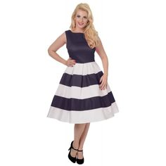 b4af6a88f9a7 Anna Adorable Striped 50 s Inspired Swing Dress in Navy White