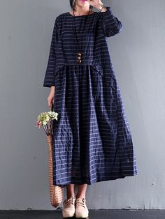 O-Newe Casual Stripe Patchwork manches longues Maxi Robe pour les femmes
