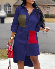 Colorblock Irregular Hem Shirt Dress trendiest dresses for any occasions, including wedding gowns, special event dresses, accessories and women clothing. African Shirt Dress, Short African Dresses, Latest African Fashion Dresses, African Print Fashion, African Wear, Trend Fashion, Fashion Outfits, Pleated Shirt, Long Denim Shirt Dress
