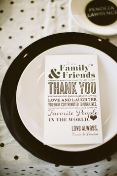 #thank-you note at each place setting  Photography: Birds of a Feather Photography - birdsofafeatherphoto.com Wedding Design + Styling: Sitting in a Tree - sittinginatreeevents.com Floral Design: Green Fresh Florals - greenfloralsd.com  View entire slideshow: Fabulous Favors on http://www.stylemepretty.com/collection/303/
