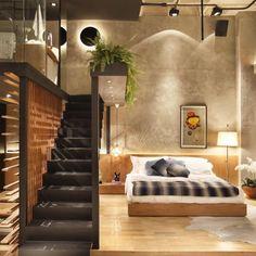 Para quem mora em um #loft ou sonha com um...  Good night! {Inspiração by @lardocecasa} #olioliteam #loftstyle #homedecor