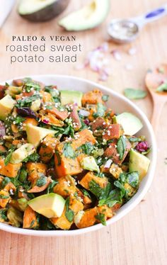 Roasted Sweet Potato Salad // Roasted sweet potatoes tossed with chopped spinach, creamy avocado chunks, red onion and dried cranberries make for a healthy, easy and delicious salad that's perfect for spring picnics and summer BBQs.  Paleo & Vegan. Roasted Sweet Potatoes, Salad With Sweet Potato, Potato Salad, Plant Paradox, Bird Food, Pasta Salad, Cantaloupe, Plants, Crab Pasta Salad
