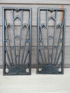 VIntage Cast Iron Grates Black Paint Art Deco by anteeker on Etsy $50.00