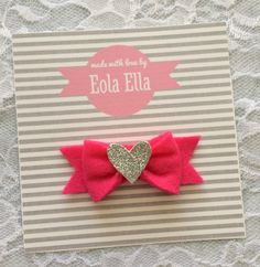 Felt Bow with Glitter Heart
