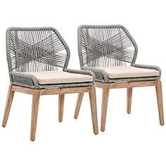 New Wicker Loom Mahogany Platinum Rope Dining Chair Set of 2