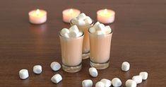 Marshmallow Shooter {mixthatdrink Original} With Vanilla, Vanilla Vodka, Double Cream, Mini Marshmallows Marshmallow Shooter, Vanilla Vodka, Mini Marshmallows, Original Recipe, Cocktail Recipes, Glass Of Milk, Panna Cotta, The Originals, Rum Cream