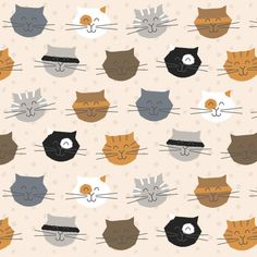 Furry Felines Print by Little Tree  Designs