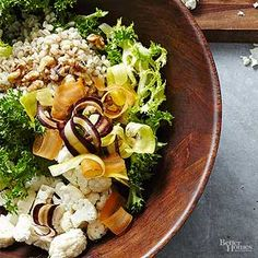 This barley salad is extremely easy to toss together and a dressing is included as well./