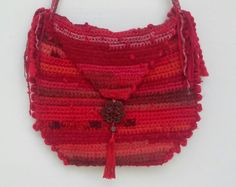 Red Woven Messenger Bag - Bohemian & Unique by SilkenNests on Etsy