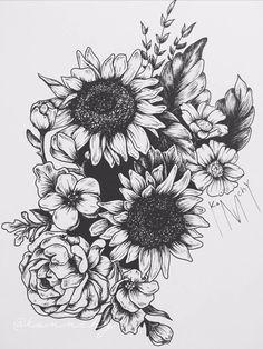 39 Impressive Black and White Sunflower Tattoo Ideas - .- 39 Beeindruckende Schwarzweiß-Sonnenblumen-Tattoo-Ideen – Tattoos – 39 Stunning Black and White Sunflower Tattoo Ideas – Tattoos – # Black and white sunflower tattoo ideas - Sunflower Tattoo Shoulder, Sunflower Tattoo Small, Sunflower Tattoos, Sunflower Tattoo Design, White Sunflower, Sunflower Drawing, Sunflower Mandala Tattoo, Moon Mandala, Tattoos Bein