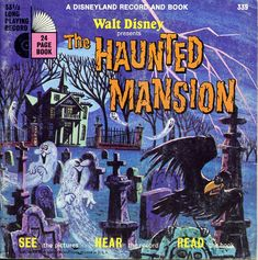 Walt Disney presents The Haunted Mansion a Disneyland Record and Book Written by Walt Disney Productions, 1977 24 Pp. Softcover A gorgeous little book based on the great Disney ride. In good condition but missing record. Retro Disney, Vintage Disney, Disney Love, Disney Magic, Disney Stuff, Disney Halloween, Retro Halloween, Halloween Images, Halloween Signs