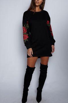 Black Rose Embroidered Long Sleeves Sweatshirt