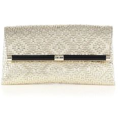Diane von Furstenberg 440 Woven Metallic Envelope Clutch ($260) ❤ liked on Polyvore featuring bags, handbags, clutches, taschen, apparel & accessories, light gold, genuine leather purse, genuine leather handbags, brown leather handbags and envelope clutch bag