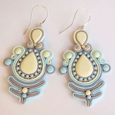 Fimo-Oriental-Handmade-Earrings-Like-Soutache-Light-Blue-Wedding-Party-Gift-Idea