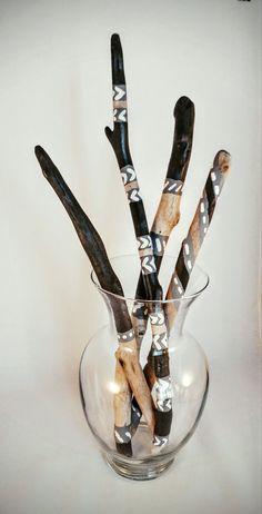Peint des bâtons de bois flotté monochrome  Set par FierceInfinity