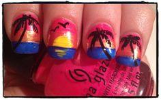 Nailed Daily - sunset beach scene nail art