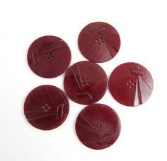 Vintage Art Deco Lot of 6 Burgundy Carved Bakelite Buttons * 34 mm