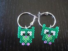 Owls hama perler beads earrings