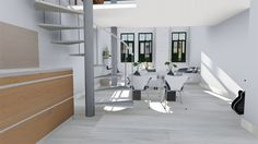 Salón comedor de apartamento con escalera de caracol.