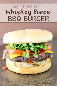Fire up the grill for this Copycat Red Robin Whiskey River BBQ Burger! Don't let summer pass you by without trying this recipe! If you read my Copycat Red Robin Freckled Lemonade post yesterday, then you know that Red Robin is one of my family Burger Recipes, Copycat Recipes, Grilling Recipes, Beef Recipes, Cooking Recipes, Diner Recipes, Pizza Recipes, Easy Recipes, Hamburgers