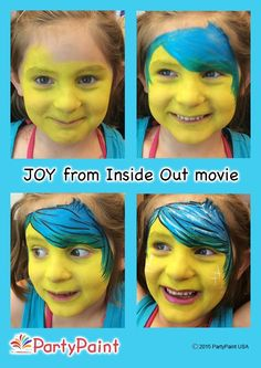 how to face paint Joy design from Inside Out movie in four simple steps. Step by step guide. Printable