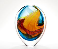 Small Thick-cased Turquoise Paradiso Stoneform by Peter Layton, London Glassblowing