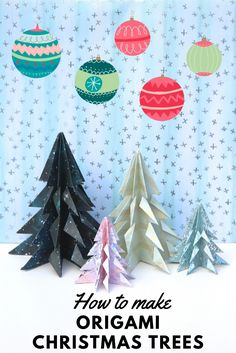 Make these magical origami Christmas trees with a few folds and snips of some paper. A pretty last minute decorations for your holiday table Diy Origami, Origami Ball, Origami Tree, How To Make Origami, Useful Origami, Origami Flowers, Origami Ideas, Last Minute Christmas Gifts, Homemade Christmas Cards