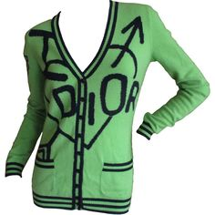 Pre-owned Dior by Galliano Skool Girls Neon Green Cashmere Cardigan ($400) ❤ liked on Polyvore featuring tops, cardigans, sweaters, neon green top, green cardigan, green top, neon green cardigan and cashmere tops