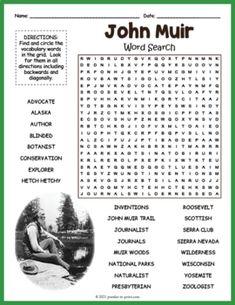 John Muir Word Search Puzzle Worksheet Activity by Puzzles to Print Word Search Puzzles, History For Kids, Crossword Puzzles, John Muir, Fun Activities For Kids, Cool Words, Worksheets, Teaching, Fun Kids Activities