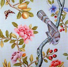 chinese wallpaper :: chinoiserie wallpaper :: silk wallpaper :: hand painted wallpaper :: hand painted silk wallpaper :: hand painted chines...