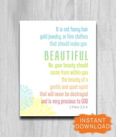 Bible Verse Beauty 1 Peter 3 3 Printable by PrintablePrints Bible Verses About Beauty, 1 Peter 3, Canvas Quotes, Makes You Beautiful, Fancy Hairstyles, All Family, Christian Inspiration, God Is Good, Word Of God