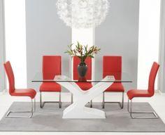 3340b97f4707 Mark Harris Natalie White High Gloss Glass Top Rectangular Dining Set with  6 Red Malibu Chairs - 180cm