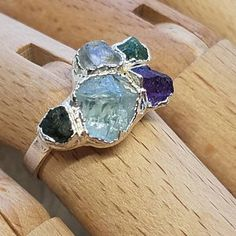 Raw tourmaline ring / watermelon tourmaline ring / raw crystal ring / Rainbow ring / Raw gemstone ring / Gift for her / October birthstone Raw Opal Ring, Raw Gemstone Ring, Opal Rings, Gemstone Jewelry, Emerald Band Ring, Raw Emerald, Blue October, November, Rings