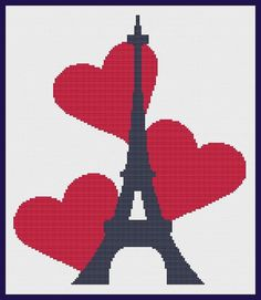 Eiffel Tower with Hearts Counted Cross Stitch by ArtbyMariana