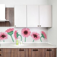 Sunflower Watercolor Wall Decal Kit  Flower Wall Decal by