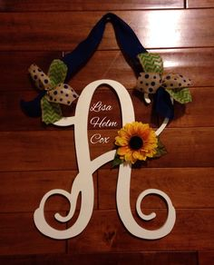 Wooden initial door hanger with sunflower, lime green & navy